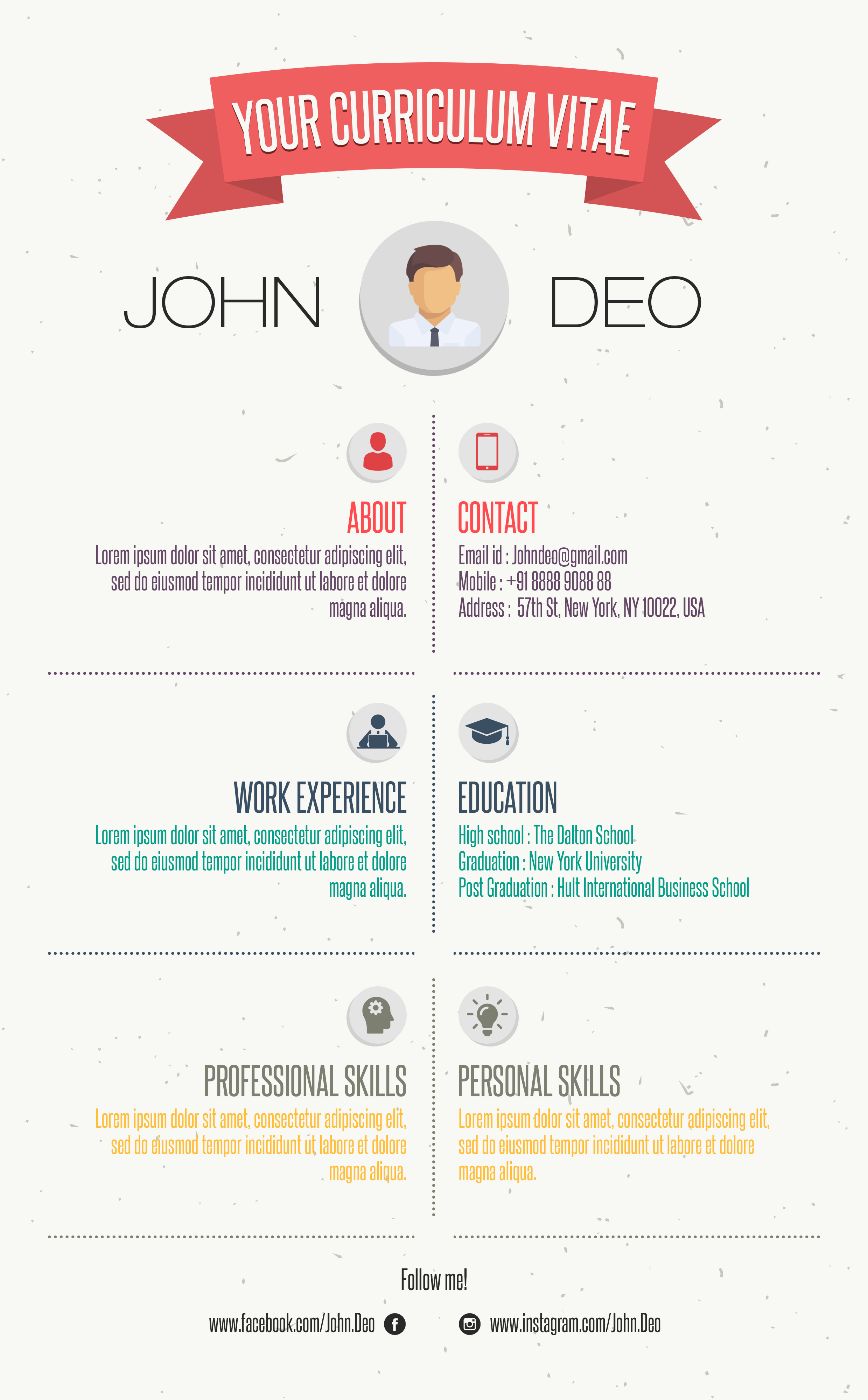 your curriculum vitae free resume template  infographic