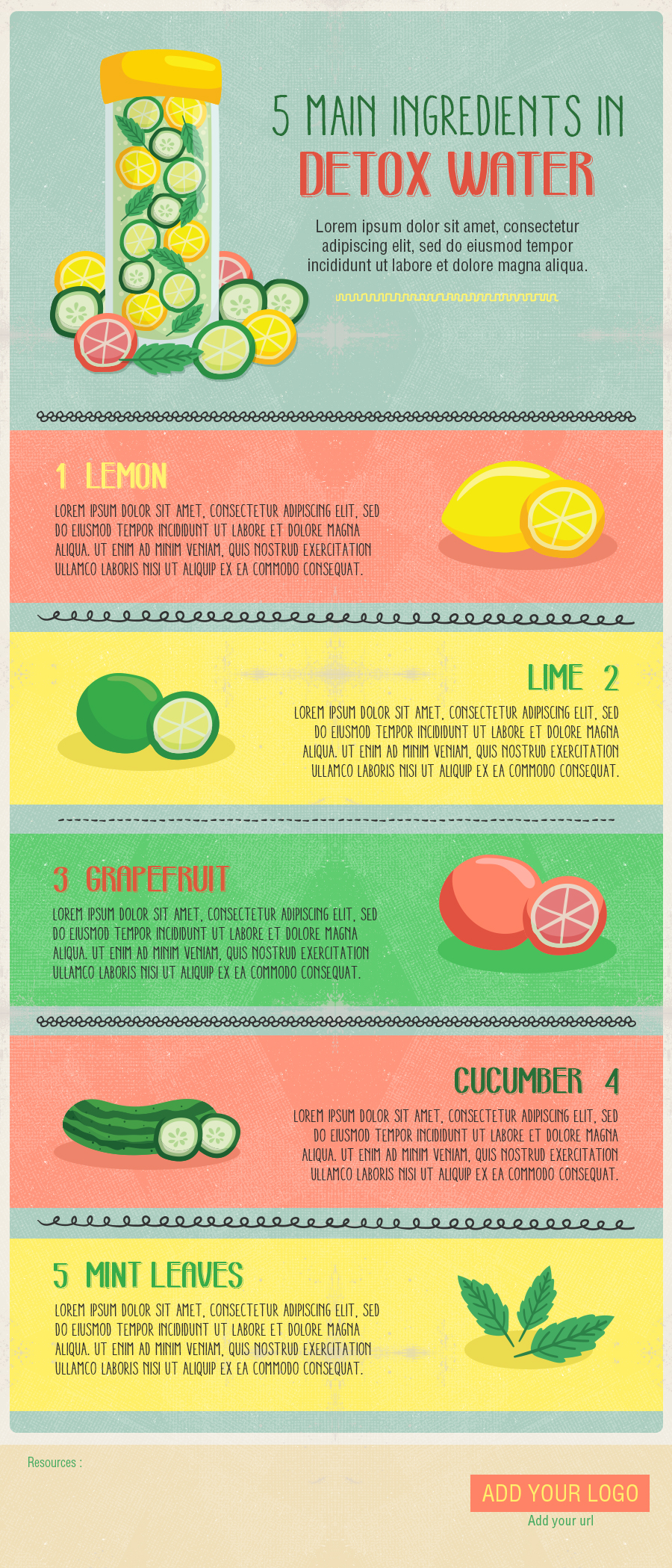 Detox water drink - free Infographic template
