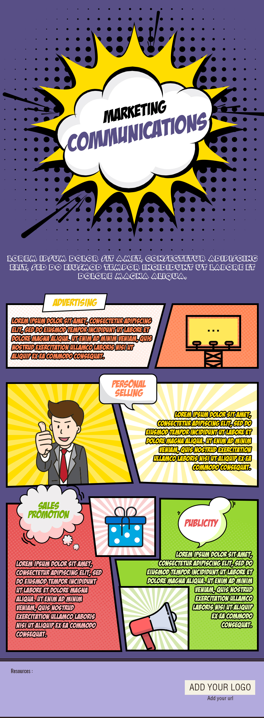 Marketing Communications Free Infographic Template - GifographicsCo