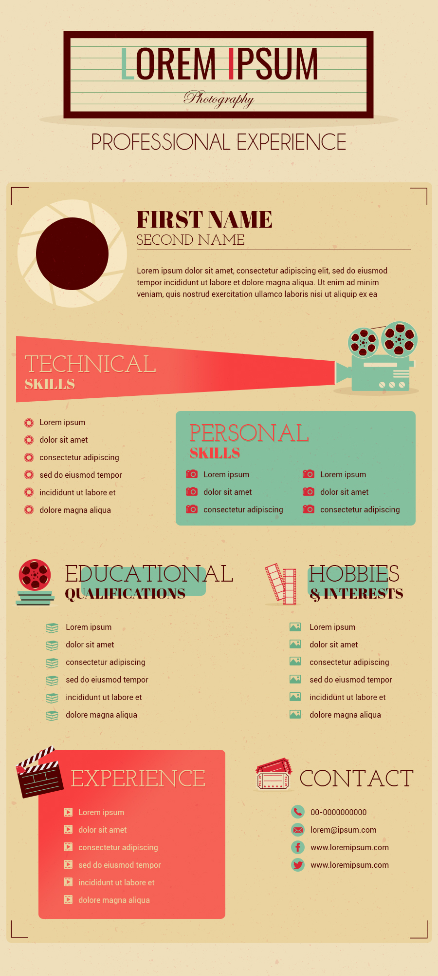 Photographer Resume Infographic Template Gifographics