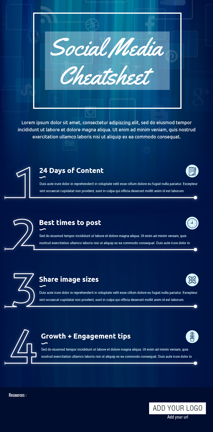 Social Media Cheat Sheet [Infographic Template]